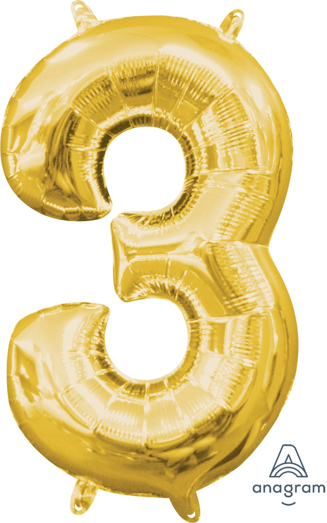 Gold 3 Jumbo Foil Balloon | Party Balloon
