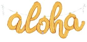 Aloha Script Balloon Gold | Gold Foil Party Balloons