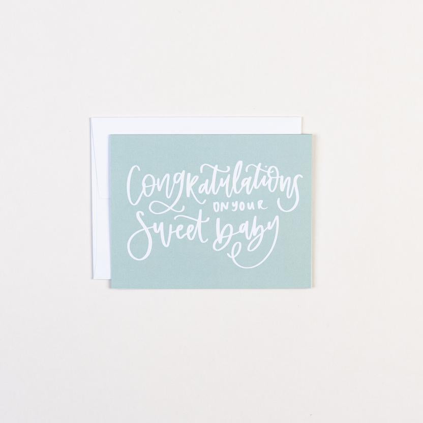 Congrats On Your Sweet Baby Greeting Card - Paper Heart Calligraphy