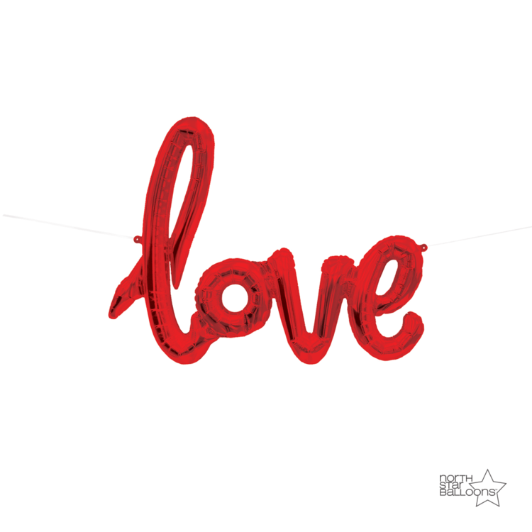 Love Script Balloon Red