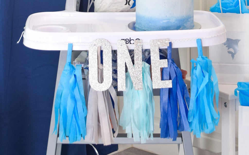 ONE highchair banner- Blue