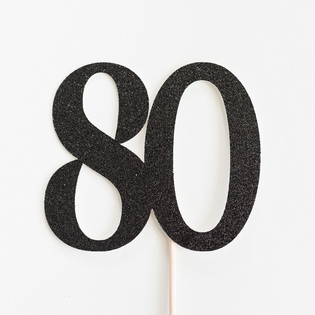 80 Cake Topper Black - Paper & Parties Boutique