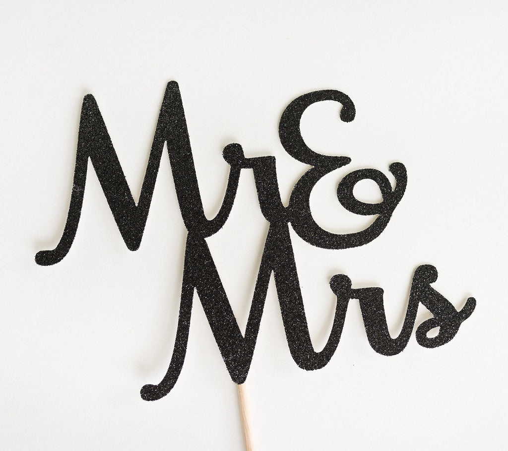 Mr & Mrs Cake Topper Black - Paper & Parties Boutique