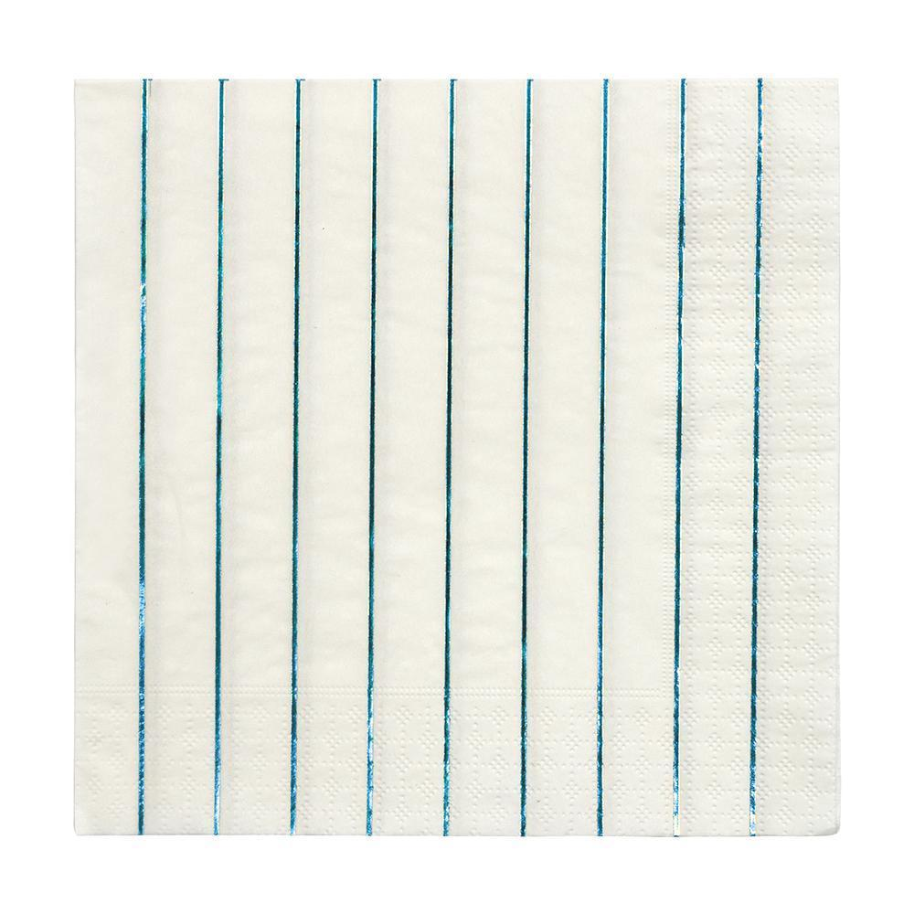 Large Blue Foil Striped Napkin