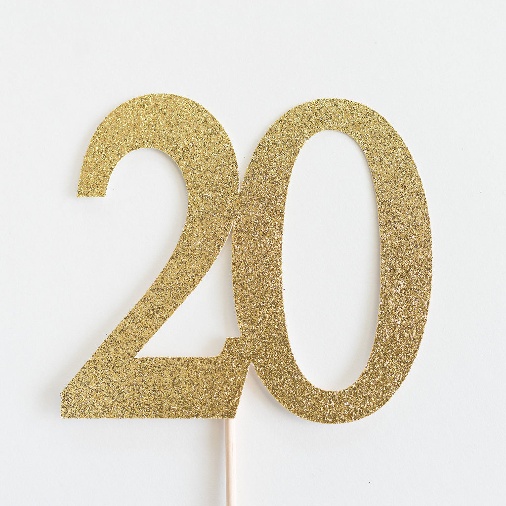 20 Cake Topper Gold - Paper & Parties Boutique