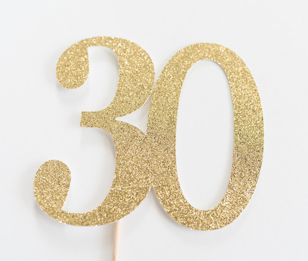 30 Cake Topper Gold - Paper & Parties Boutique | Party Supplies Canada