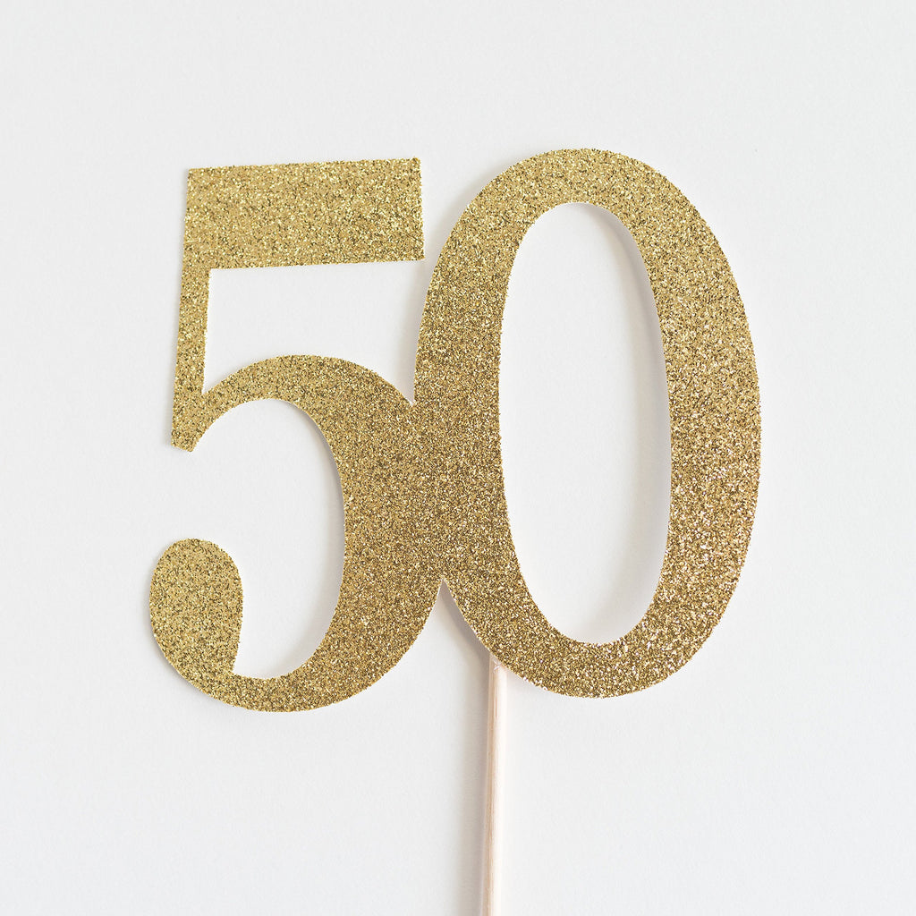 50 Cake Topper Gold - Paper & Parties Boutique | Party Supplies Canada