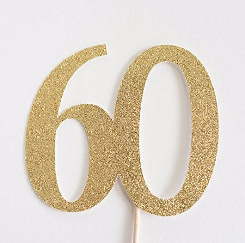 60 Cake Topper Gold - Paper & Parties Boutique | Party Supplies Canada