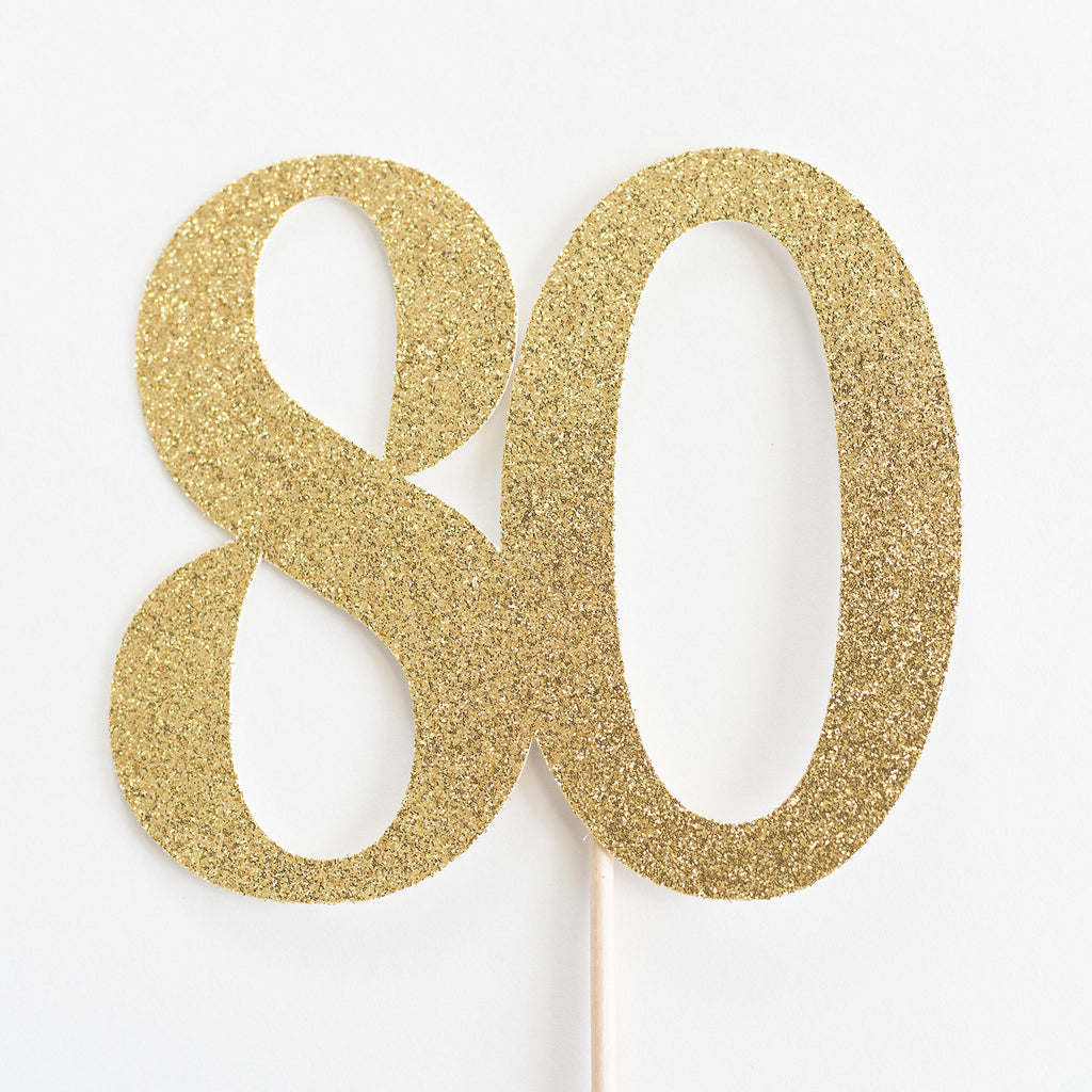 80 Cake Topper Gold - Paper & Parties Boutique | Party Supplies Canada