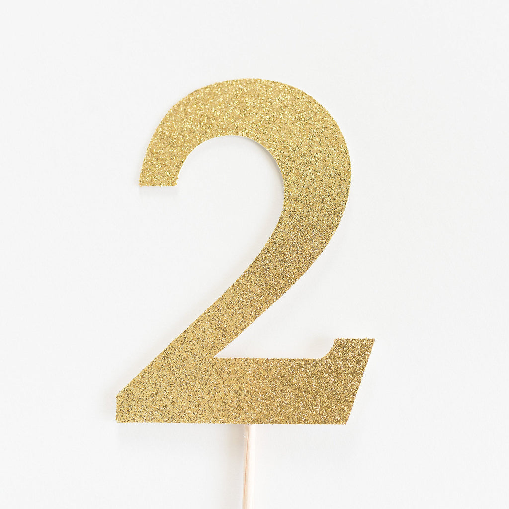 2 Cake Topper Gold - Paper & Parties Boutique | Party Supplies Canada