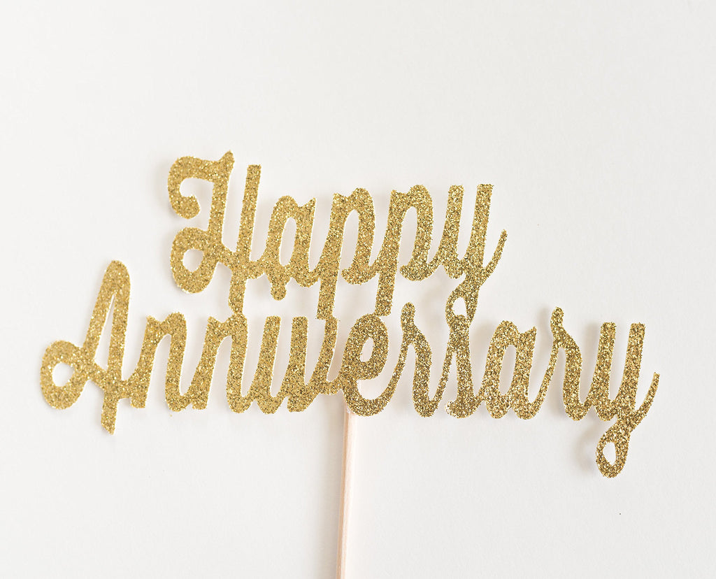 Happy Anniversary Cake Topper Gold - Paper & Parties Boutique