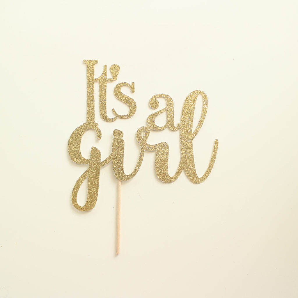 It's a Girl Cake Topper Gold - Paper & Parties Boutique