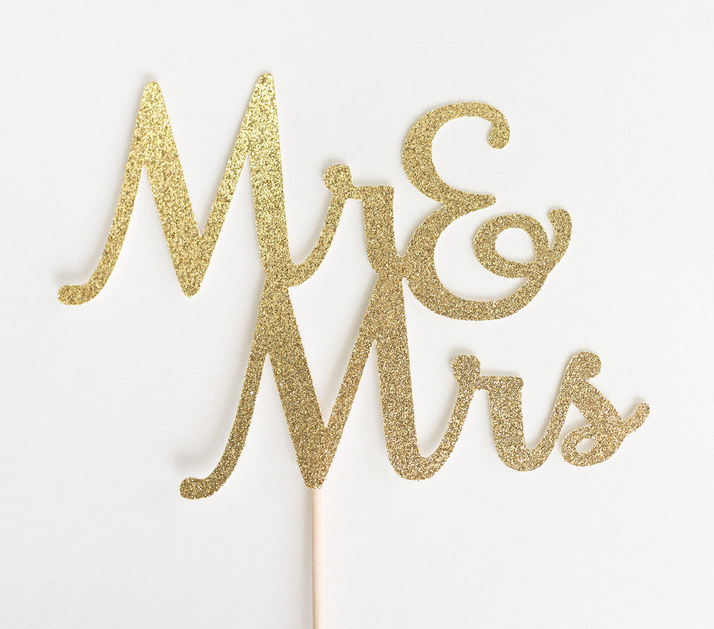 Mr & Mrs Cake Topper Gold - Paper & Parties Boutique