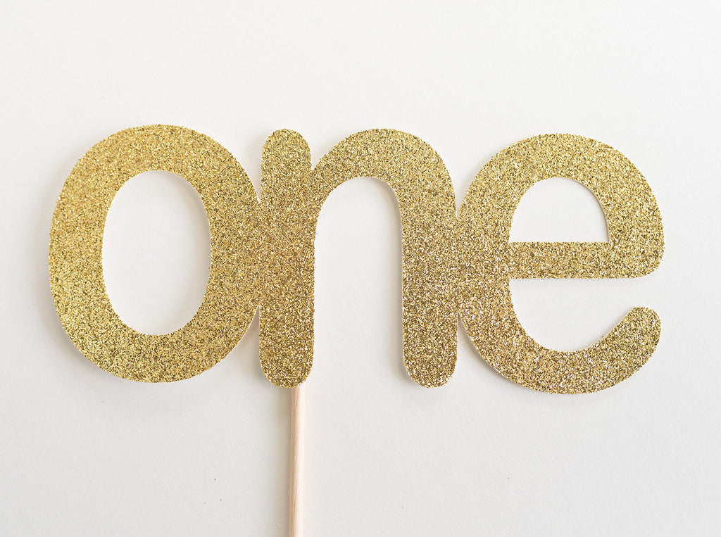One Cake Topper Gold - Paper & Parties Boutique