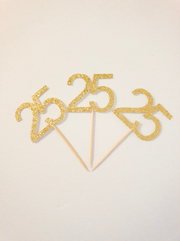 25 Birthday Annversary Cupcake Topper Party Pick
