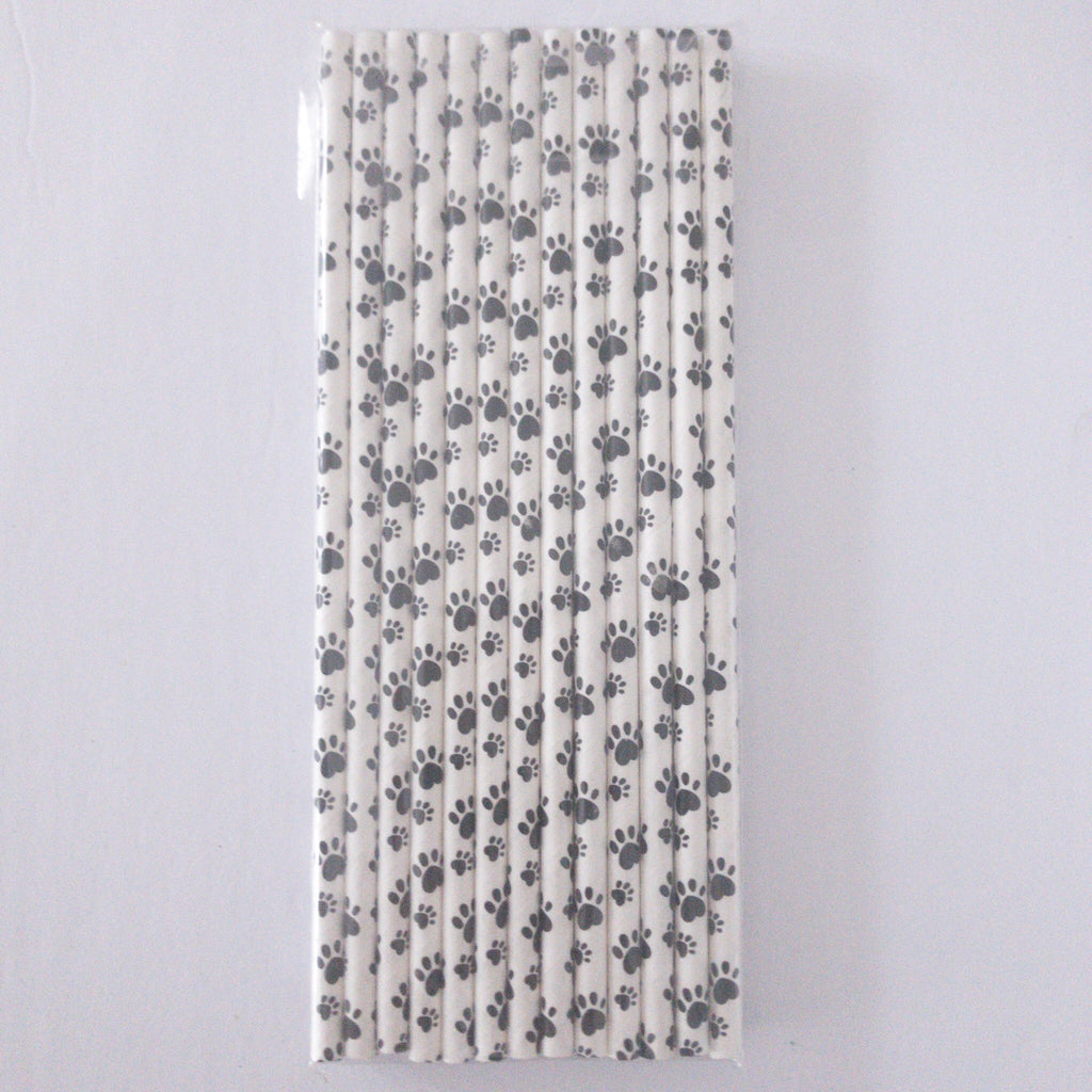 Paw Print Black and White Eco Friendly Paper Straws S1082