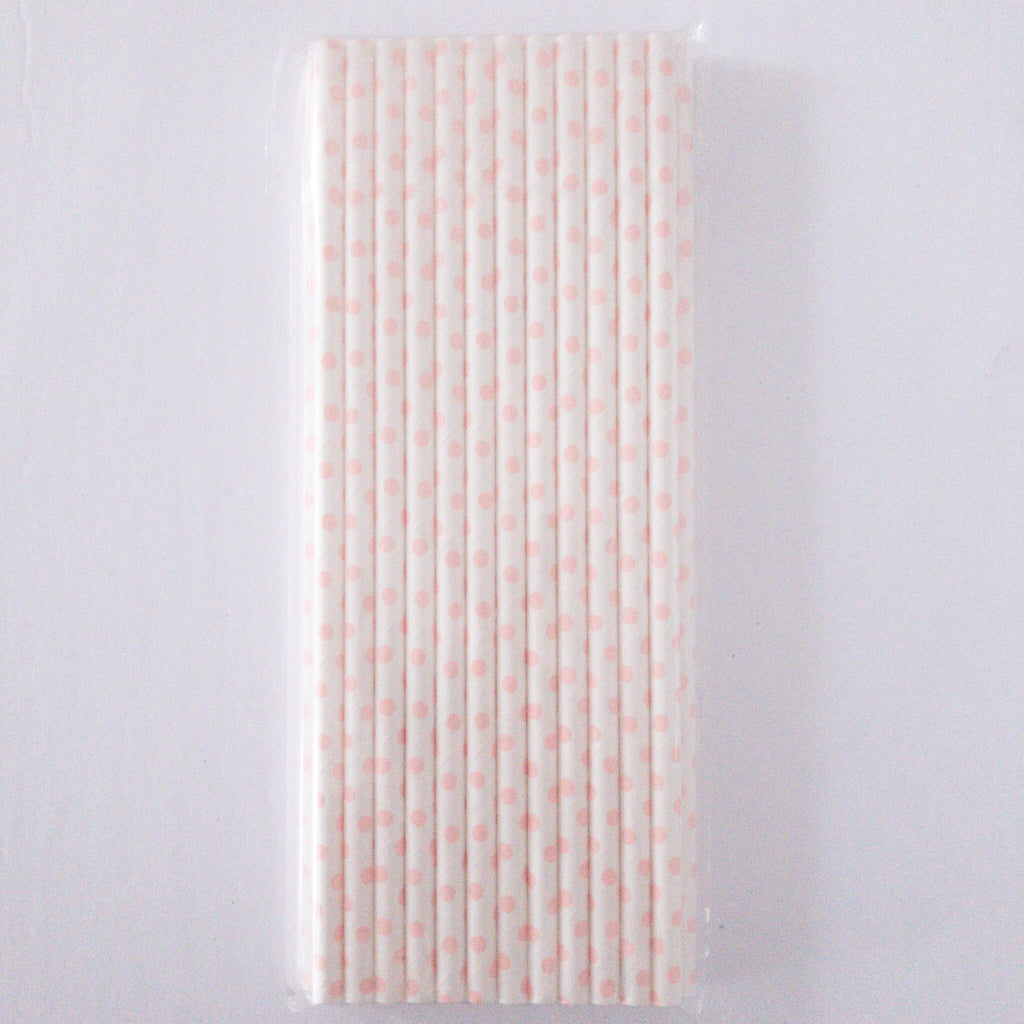 Light Pink and White Polka Dot Eco Friendly Paper Straws