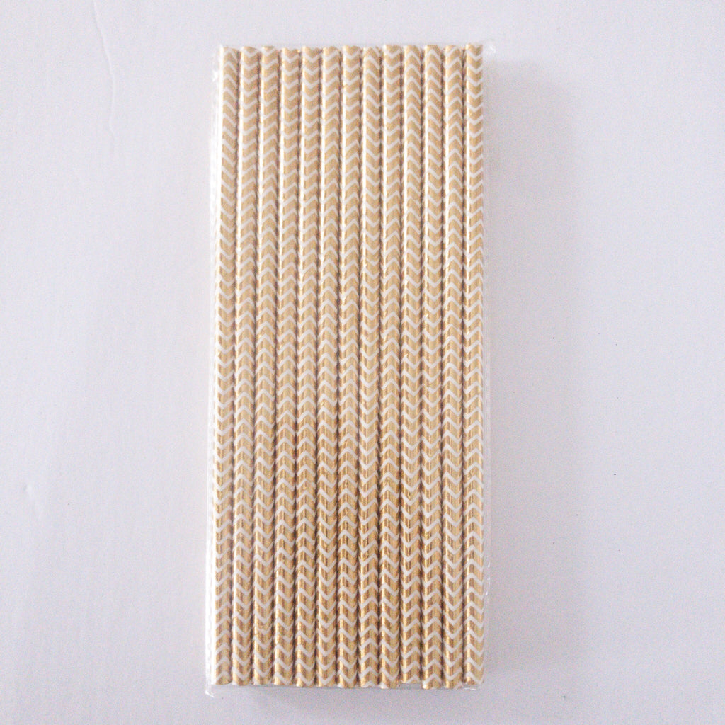 Metallic Gold Chevron Eco Friendly Paper Straws