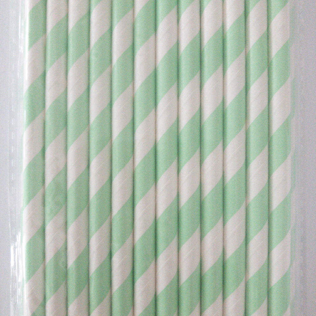 Mint Green and White Striped Eco Friendly Paper Straws