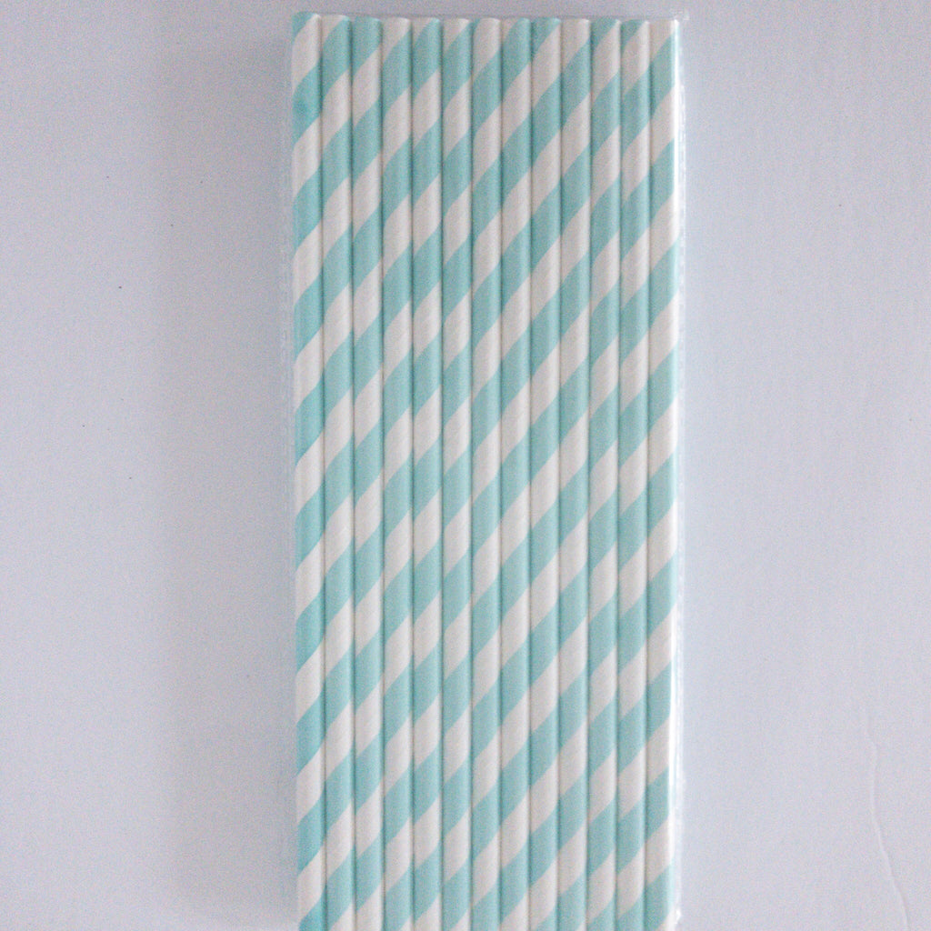 Light Blue and White Striped Eco Friendly Paper Straws