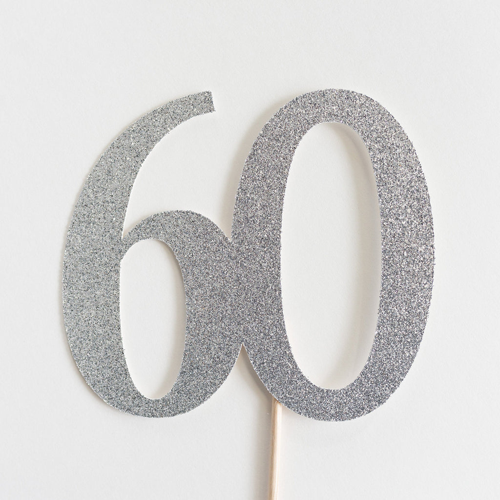 60 Cake Topper Silver - Paper & Parties Boutique | Party Supplies Canada
