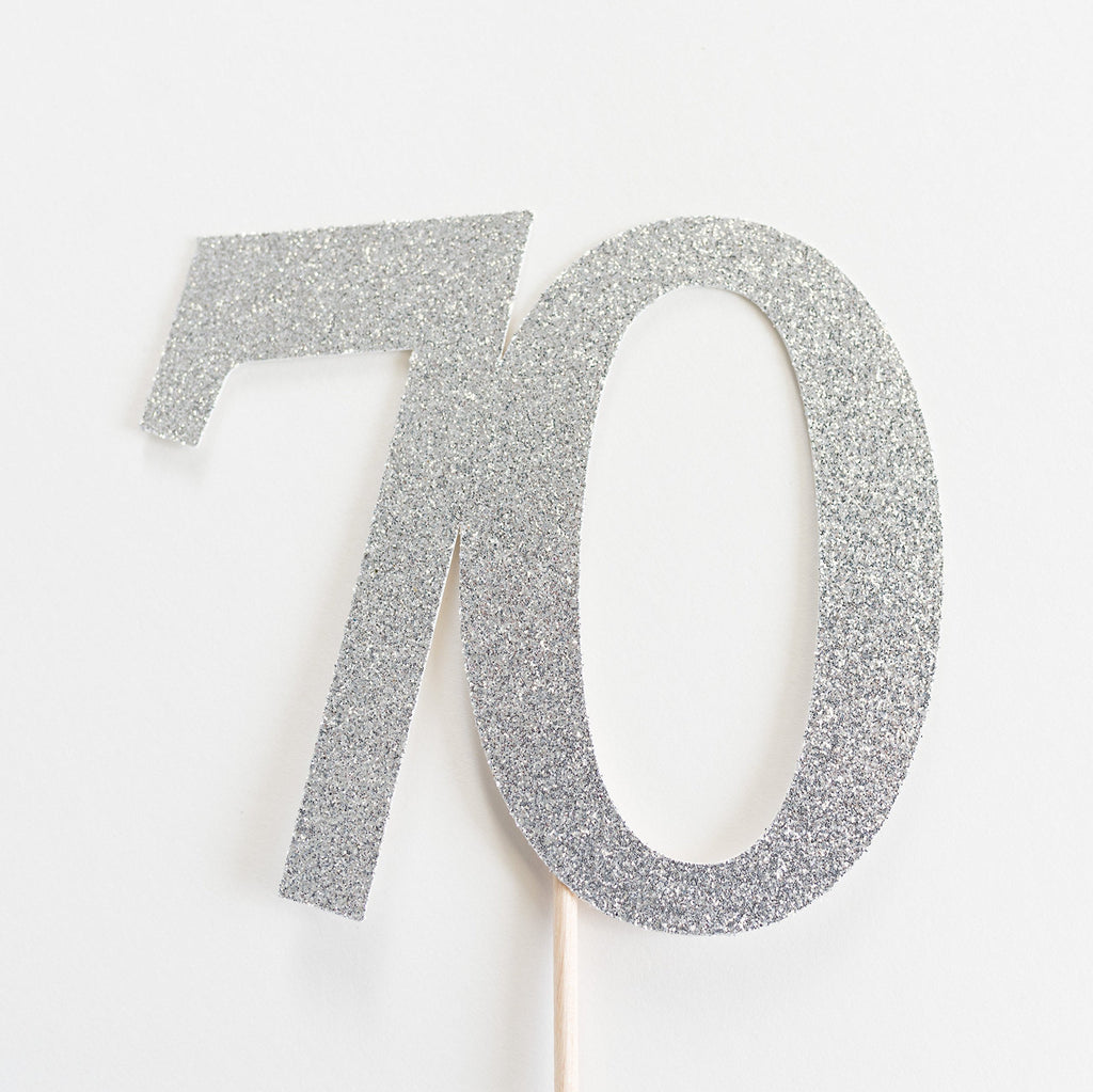 70 Cake Topper Silver - Paper & Parties Boutique
