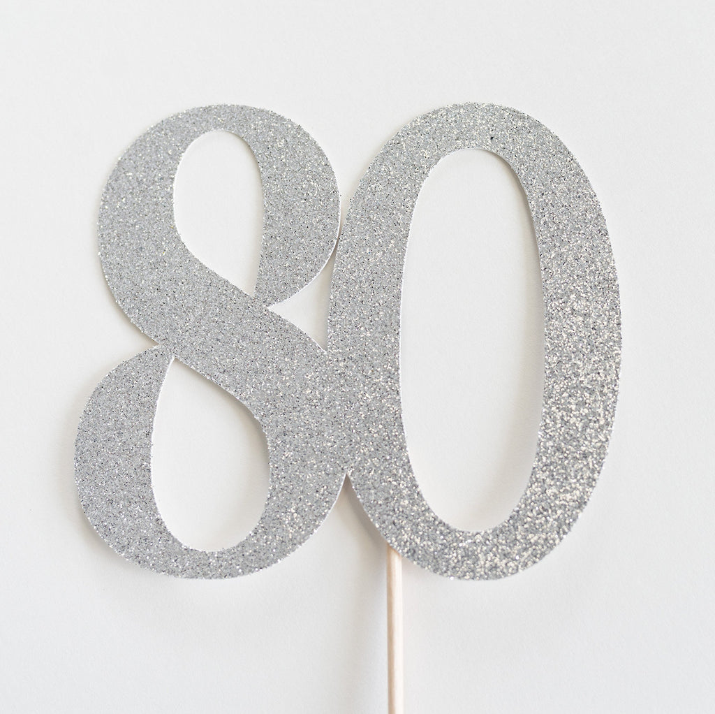80 Cake Topper Silver - Paper & Parties Boutique | Party Supplies Canada