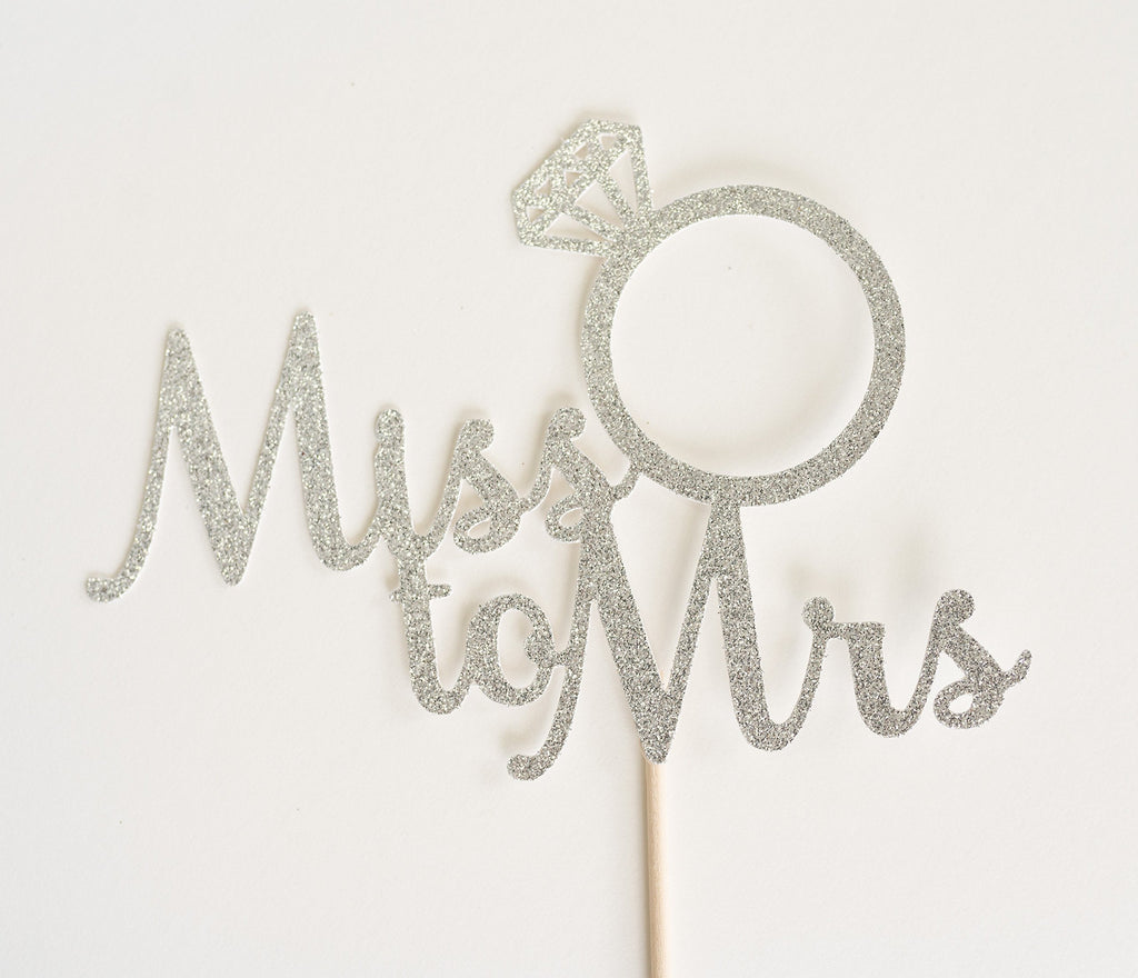 Miss to Mrs Cake Topper Silver - Paper & Parties Boutique