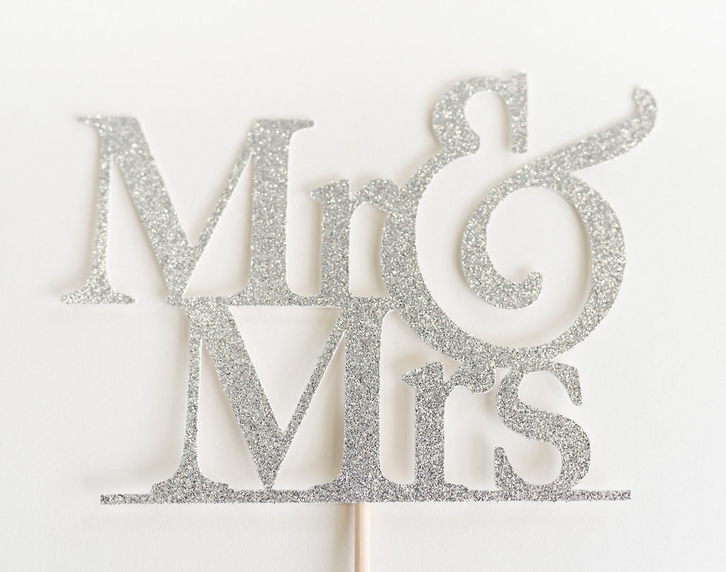 Mr & Mrs Cake Topper Silver - Paper & Parties Boutique