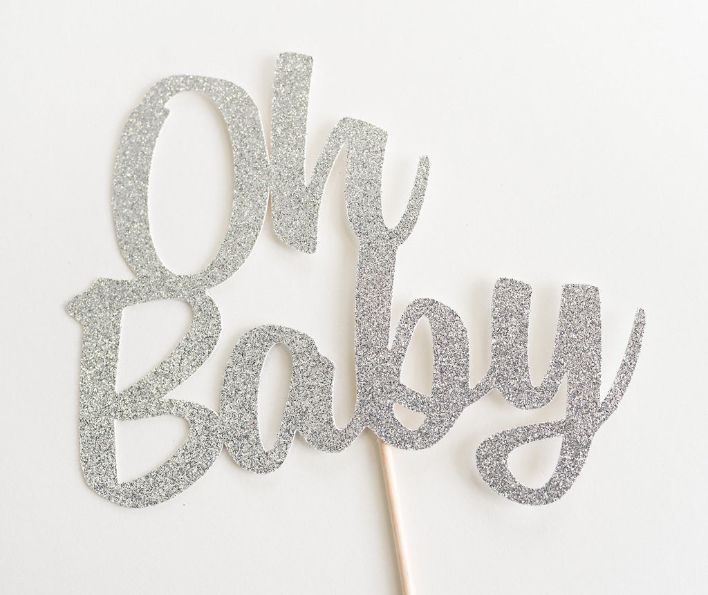 Oh Baby Cake Topper Silver - Paper & Parties Boutique