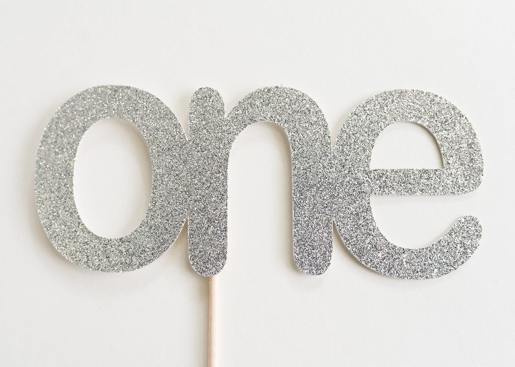 One Cake Topper Silver - Paper & Parties Boutique
