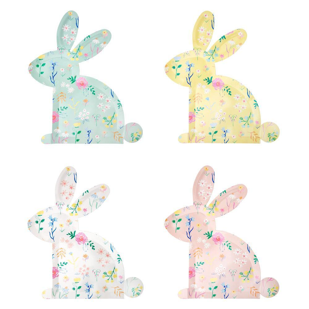 Floral Bunny Plates - Large