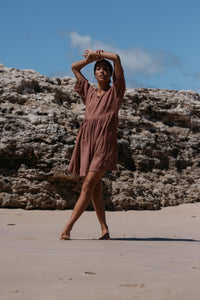 Palms Smock Dress- Copper Brown