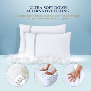 BedStory Sleeping Pillows Hotel Collection Luxury Pillow 2 Pack Goose Down Alternative Premium Quality Bed Pillows for Back Stomach and Side Sleepers Hypoallergenic Dust-Mite Resistant