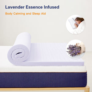 BedStory 3 Inch Lavender Infused Memory Foam Mattress Topper