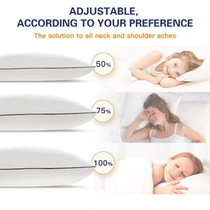 BedStory Shredded Memory Foam Pillows for Sleeping King 20x36-Soft and Supportive Loft Adjustable Pillows for Side Back Stomach Sleeper-Neck Pain Relief Bed Pillows with Removable Washable Cover