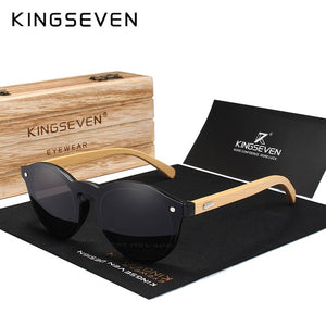Kingseven Natural Bamboo Sunglasses Uv Protection With Wooden Case