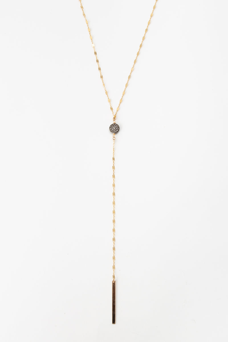 LARIAT NECKLACE WITH PAVE DIAMOND DISC