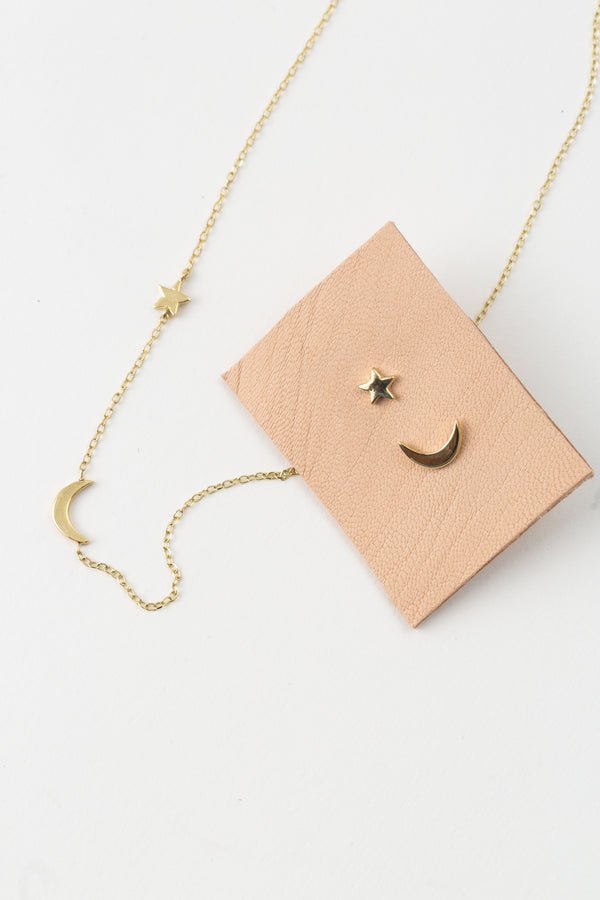 MOON AND STAR STUD EARRINGS in 14K GOLD