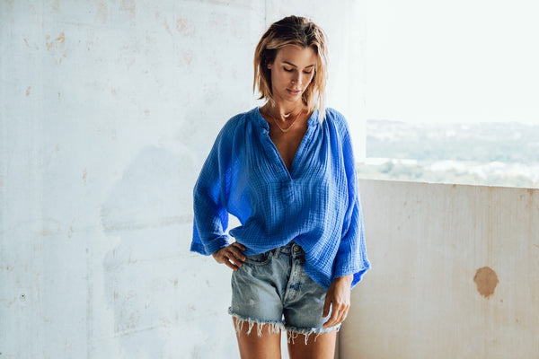 MARRAKESH DOUBLE GAUZE TOP in MOROCCAN BLUE