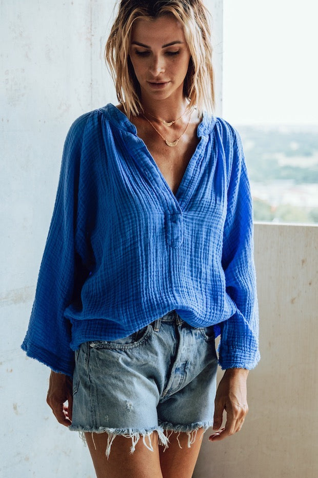 MARRAKESH GAUZE TOP in BLUE