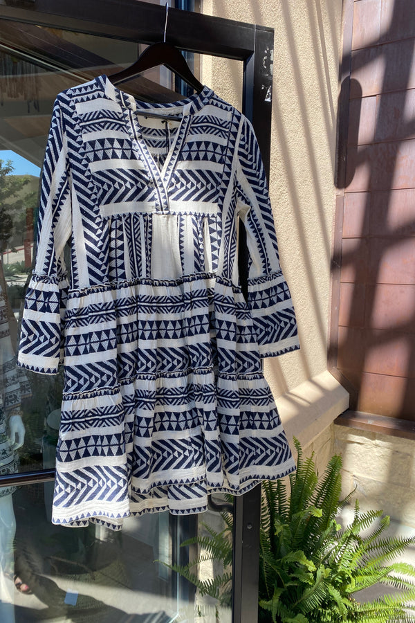 GREEK VACATION DRESS IN NAVY