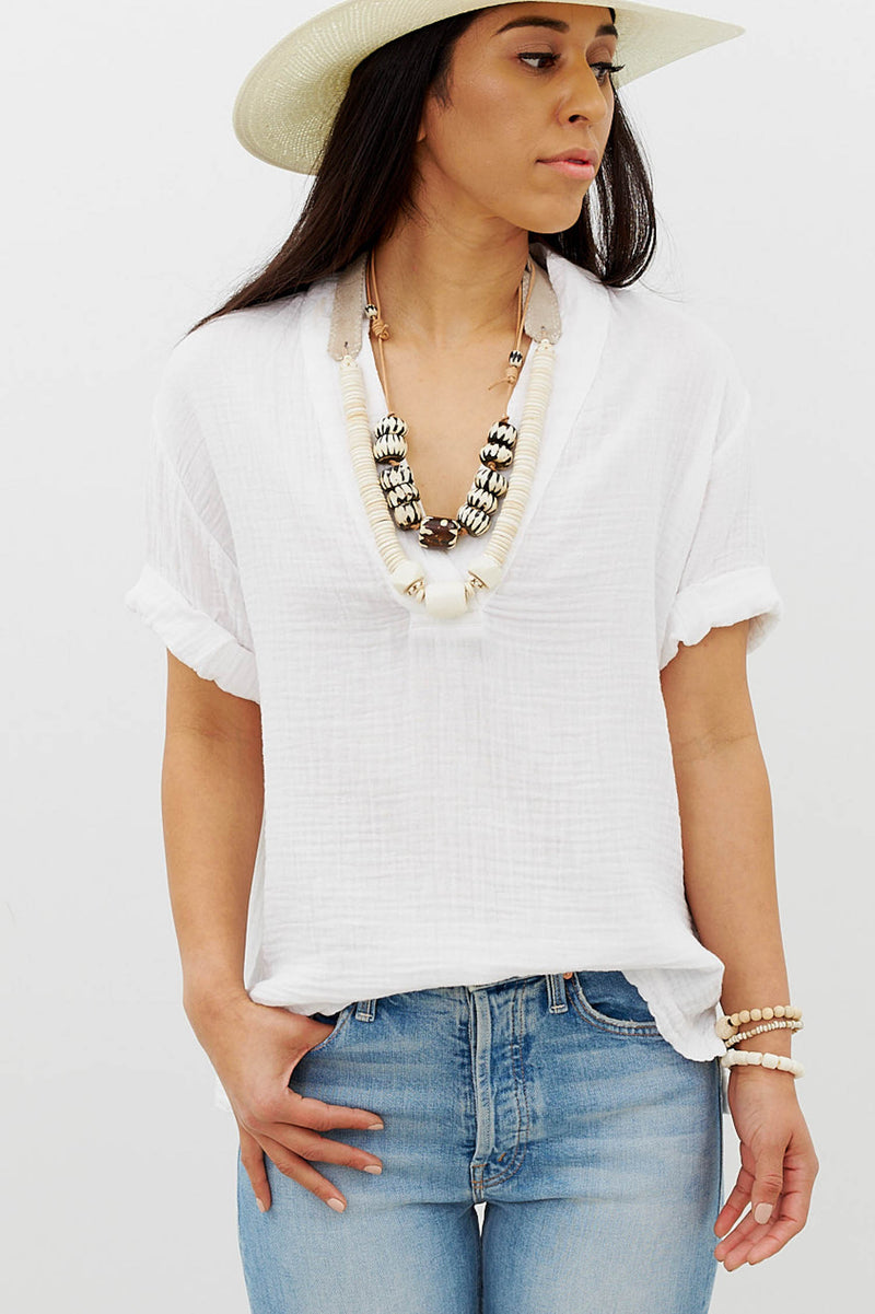 AVERY TOP IN WHITE GAUZE