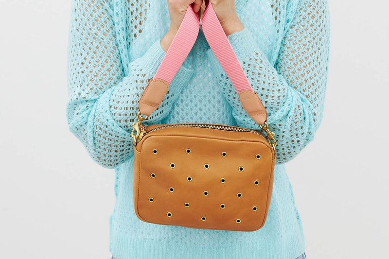 CLARE V MIDI-SAC IN CAMEL WITH GROMMETS