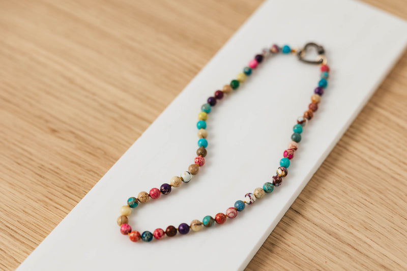 RAINBOW JADE CHOKER WITH LOBSTER CLASP