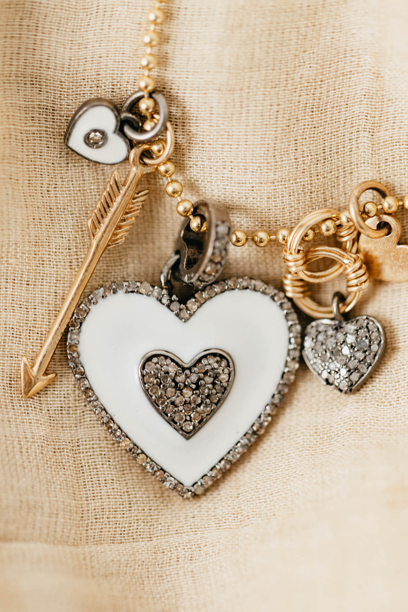 MULTI-CHARM NECKLACE WITH ENAMEL HEART