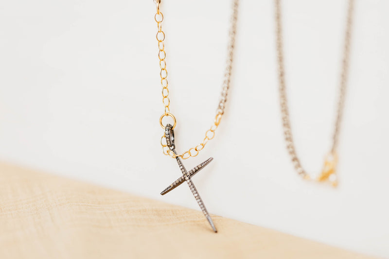 DIAMOND CROSS ON MIXED METAL CHAIN