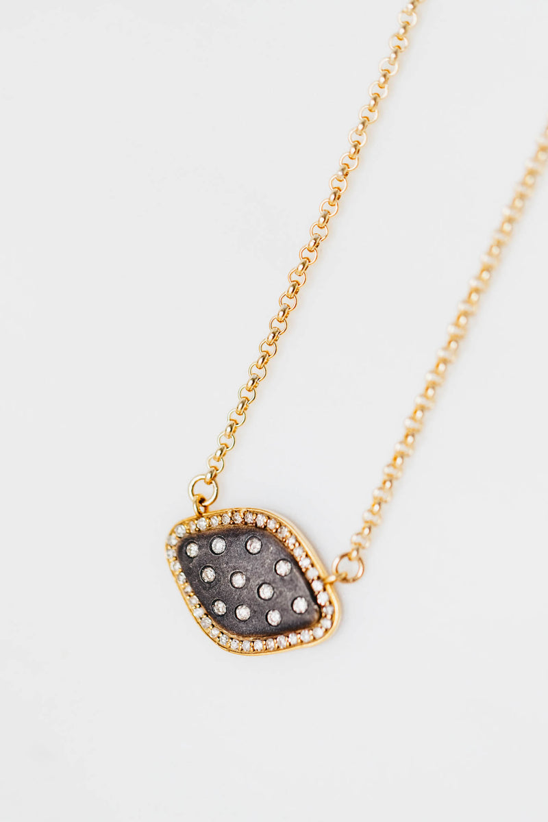EVIL EYE SHIELD NECKLACE WITH DIAMONDS