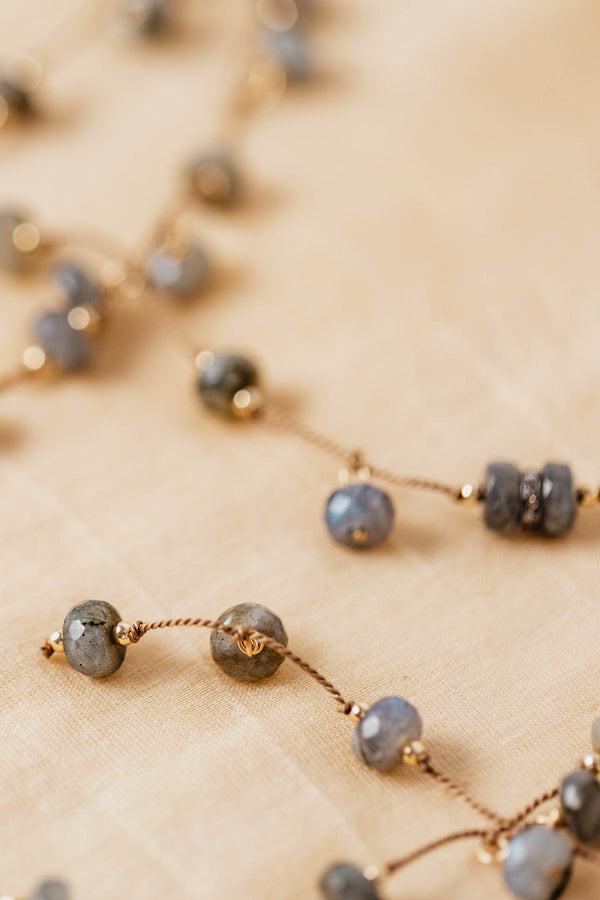 KNOTTED LARIAT WITH LABRADORITE BEADS