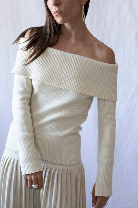 EVA OFF-THE-SHOULDER SWEATER